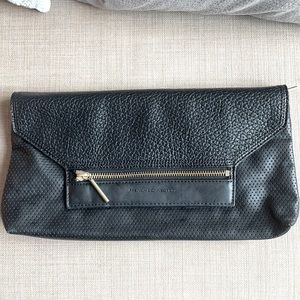 Black leather French Connection Clutch